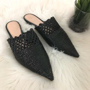 Zara Woman Mule Black Pointed Toe Flat Size 7